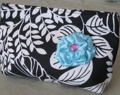 Black and White Makeup Travel Camera Bag with Turquoise Flower