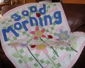 Good Morning Lady Bug & Flowers Baby Quilt or Wall Hanging