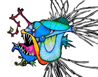 Blue Angler Fish - Print