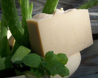 Mint Aloe Soap with aloe and shea butter plus three mint essential oils