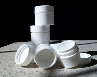 3/8 ounce White Plastic Jars for lip balms or trial sizes, set of 6