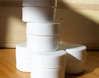 1/8 ounce White Plastic Jars for lip balms or trial sizes, set of 6
