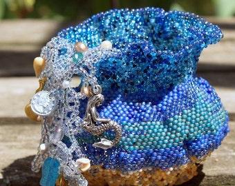 Mermaid's Basket- OOAK Miniature Basket- handmade beaded basket- bead sculpture- beadwoven basket- art object- gift- beadweaving- bead art