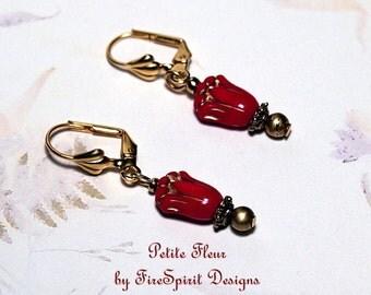 Petite Fleur- handmade earrings, beaded earrings, red flower earrings, ooak earrings, pierced earrings, clip on earrings, artisan earrings