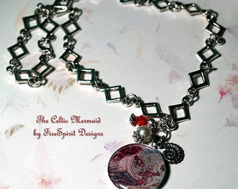 The Celtic Mermaid- handmade necklace- resin pendant necklace- ooak necklace- mermaid necklace- jewelry- gift for her- chain necklace