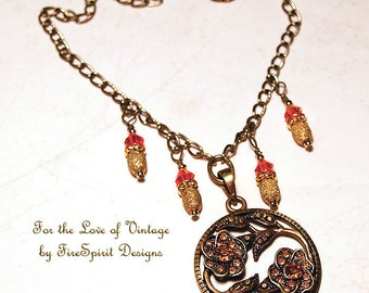 For the Love of Vintage- handcrafted artisan necklace- handmade jewelry- vintage style necklace- gift for her-ooak necklace-pendant necklace