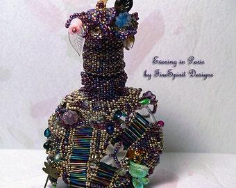 Evening in Paris- OOAK beadwoven vintage perfume bottle- bead art- sculptural bead art- beaded vessel- art object- gift- functional art
