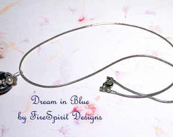 Dream in Blue- OOAK necklace- beaded necklace- artisan necklace- handmade necklace- pendant necklace- lapis necklace- gemstone- gift for her