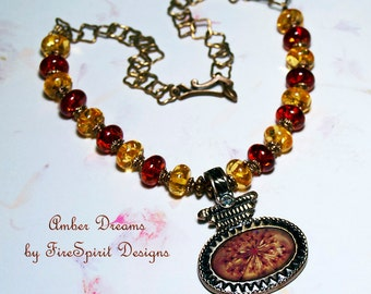 Amber Dreams- handmade artisan necklace- ooak handmade necklace- pendant necklace- jewelry- beaded necklace- Victorian style necklace- gift