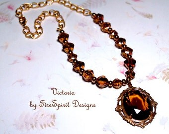 Victoria- handmade necklace- artisan necklace- pendant necklace- beaded necklace- art to wear- vintage style jewelry- gift for her- OOAK