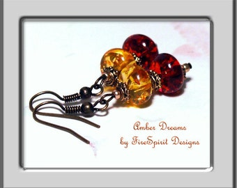 Amber Dreams- handmade earrings, beaded earrings, OOAK earrings, amber earrings, earrings, dangle earrings, pierced earrings, gift for her