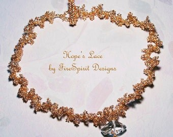 Hope's Lace- OOAK necklace- beadwoven necklace- bridal necklace- wedding necklace- handmade necklace- beadweaving- gift for her- formal