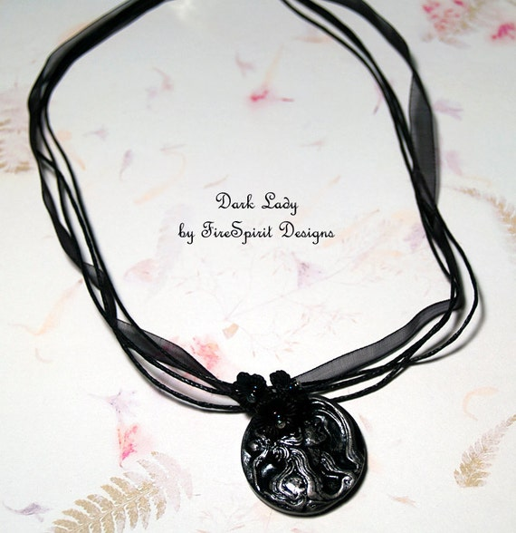 Dark Lady- handmade jewelry- artisan necklace- OOAK handmade necklace- pendant necklace- Gothic necklace- ribbon necklace- gift for her