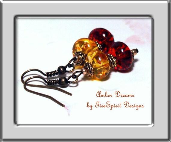 Amber Dreams- handmade earrings, beaded earrings, OOAK earrings, amber earrings, earrings, dangle earrings, pierced earrings, gift for her