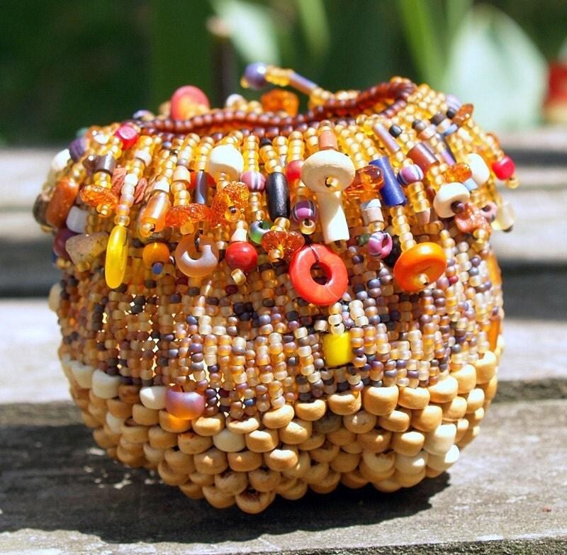 Handmade Beaded Basket : Tribal magic handmade beaded miniature basket beadwoven