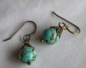 Turquoise magnesite and Antique Gold Earring Set