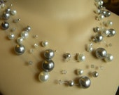 Multi-strand Gray and White Pearl Necklace - EXAMPLE