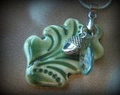 Leaf and Acorn Ceramic Aromatherapy Pendant, Charm and Chain