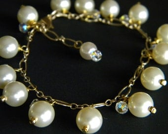Pearls, Crystals and Gold Bracelet (SALE)