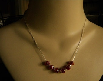 Red Crystal and Silver Necklace and Earrings Set - FALL SALE ITEM
