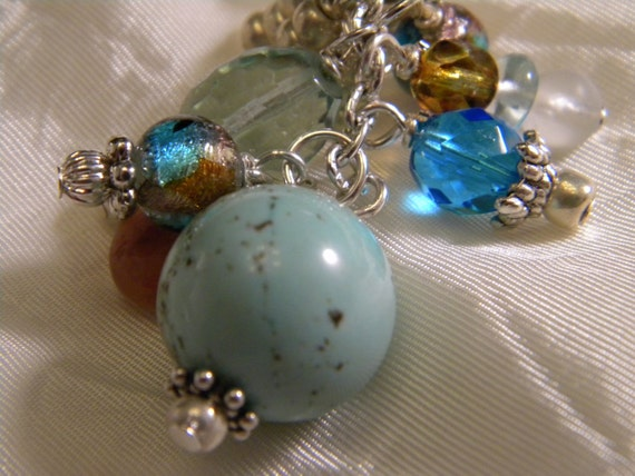 Silver and pastel, glass purse charm