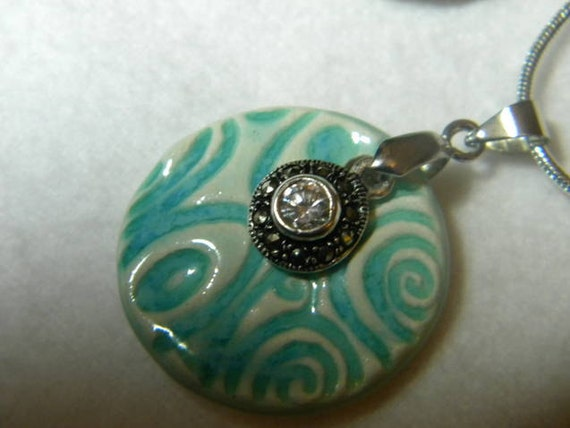 Swirly Patterned Turquoise Ceramic Aromatherapy Pendant, Charm and Chain