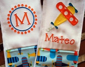Embroidered Airplane Burp Cloth - Monogrammed and Personalized