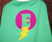 Custom Made EMBROIDERED and Personalized SuperHero Cape in Green and Pink