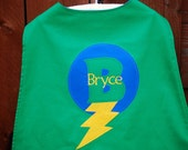Custom Made EMBROIDERED and Personalized SuperHero Cape in Green and Blue