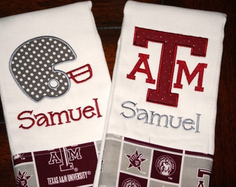 Embroidered Texas A&M Burp Cloth - Monogrammed and Personalized