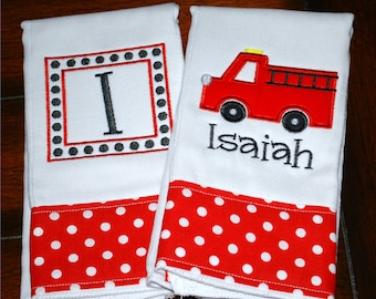 Embroidered Firetruck Burp Cloth - Monogrammed and Personalized