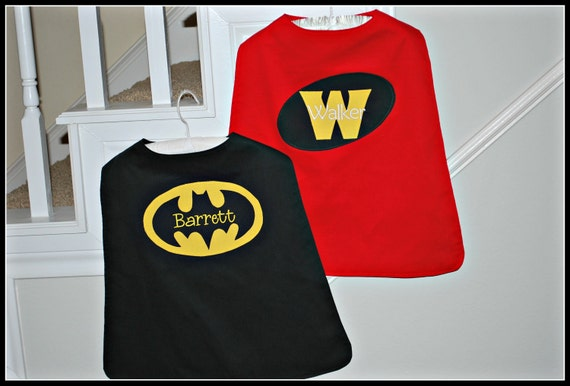 Custom Made Embroidered and Personalized Batman and Robin SuperHero Cape - Babies and Toddlers
