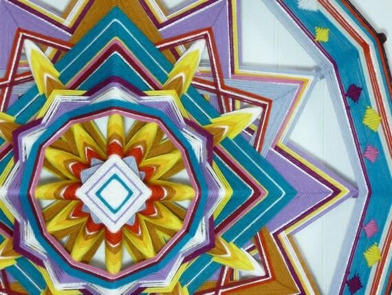 Diamond Sunrise, an all wool, 12-sided, 24 inch Ojo de Dios, by custom order