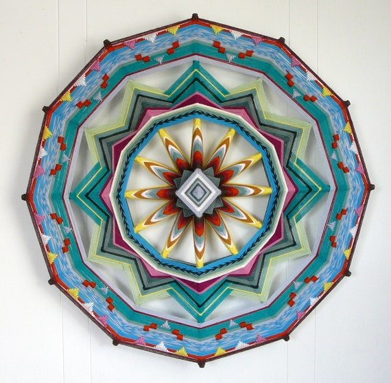 Finding Heart, 24 inches, 12 sided, all wool Ojo de Dios mandala