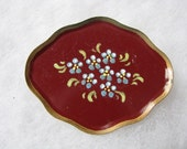 Deep red aluminum tole serving tray brooch pin with fluted gold edging