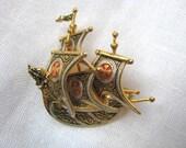 Pin. Brooch. Damascene Viking ship