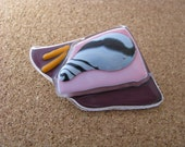 Unusual layered purple glass brooch pin with seashell design. Beachy pin