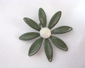 Sage green enamel flower pin with white center