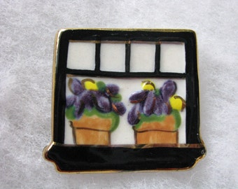 VIntage square ceramic pin brooch Flower pots on window sill