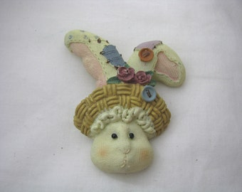 Resin pastel bunny rabbit pin with straw bonnet & button accents