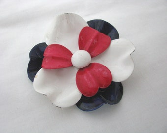 Vintage Red, white, blue enamel flower pin brooch with ruffled petals