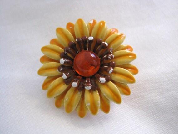 Harvest gold layered vintage enamel flower pin brooch with orange center