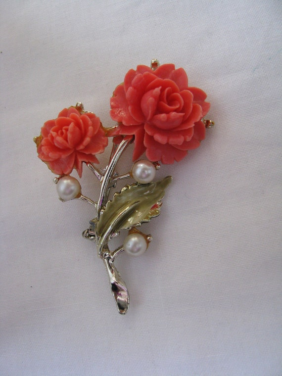 Captivating carved coral double flower brooch pin with faux pearl accents