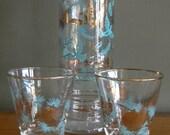 SALE.....Vintage Aqua and Gold bird leaf Barware Cocktail Set