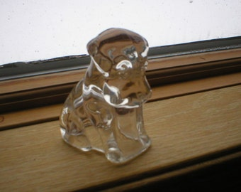 Vintage Figurine Sitting Dog Glass Candy Container Circa 1940s