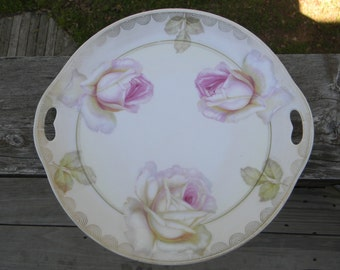 Vintage plate Serving & Dining Table Decorations decor Table Setting Rose Handpainted Cake Plate wedding gift