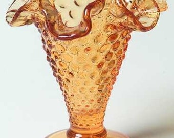 Vintage Holiday Decor Fall decoration Amber Double Crimped Footed Hobnail Vase by Fenton Crystal Thanksgiving tablesetting Christmas table