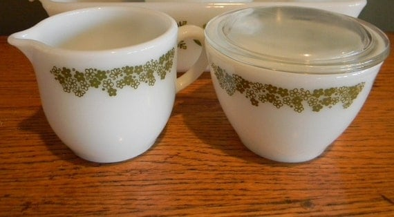 Vintage Corelle Green & White Flowers Sugar Bowl and Creamer with Glass Lid by Corning