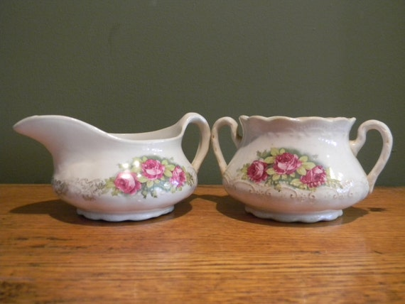 Vintage wedding decor Rustic Wedding southern vintage Wedding Table Setting Pink Floral Sugar and Creamer Southern Wedding Decor