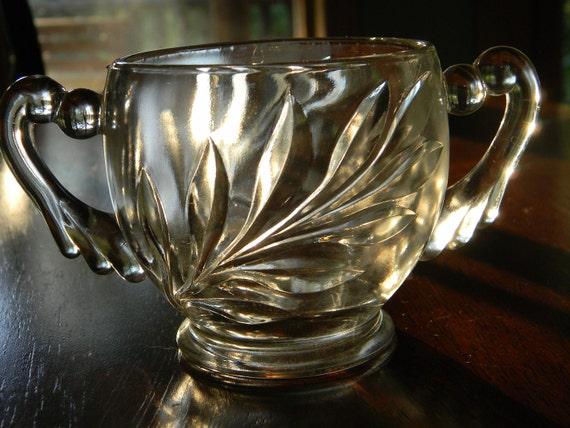 Vintage Leaf Pattern glass sugar jar shabby chic
